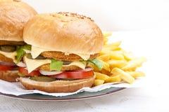Plan rapproché avant d'hamburger de feston Photographie stock libre de droits