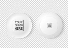 Plan rapproché avant de vecteur de nourriture de plat d'icône blanche réaliste de plat et arrière réglé de vue d'isolement sur le Photo stock