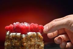 Plan rapproché avec une main arrangeant des framboises sur le fond de gâteau et de lumière rouge Images libres de droits