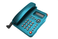 Plan rapproché bleu de téléphone Photos libres de droits