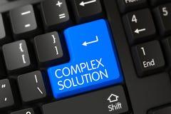 Plan rapproché complexe de solution de clé de clavier bleue 3d Photos libres de droits