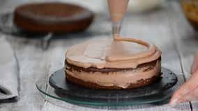 Plan rapproché : crème de biscuit sous forme de spirale sur le gâteau Gâteau mousseline de chocolat avec de la crème Préparation  banque de vidéos
