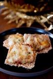 Plan rapproché délicieux trois de nourriture de viande de ravioli de cuisine asiatique intéressante de style plaqué photos libres de droits