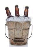 Plan rapproché démodé de seau de bière Image libre de droits