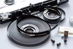 Plan rapproché démonté de cassette sonore photographie stock libre de droits