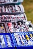 Plan rapproché détaillé de boîte avec des outils Photo libre de droits