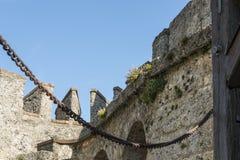 Plan rapproché d'†de château du Lichtenstein «de porte et de pont-levis d'entrée image stock