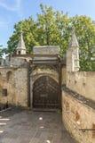 Plan rapproché d'†de château du Lichtenstein «de porte et de pont-levis d'entrée photo stock
