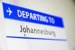 Plan rapproché d'écran d'ordinateur de vol vers Johannesburg Photo libre de droits