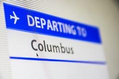 Plan rapproché d'écran d'ordinateur de vol à Colombus Images stock