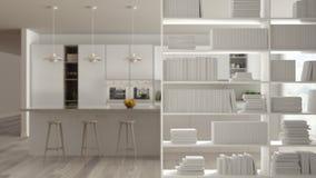 Plan rapproché d'étagère, premier plan de étagère, concept de construction intérieure, cuisine minimaliste à l'arrière-plan illustration stock