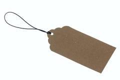 Plan rapproché d'étiquette de carton du rendu 3D sur la corde Photographie stock