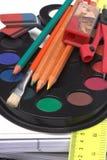 Plan rapproché d'approvisionnements d'école Photos libres de droits