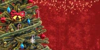 Plan rapproché d'arbre de Noël, calibre de chèque-cadeau image stock