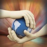 plan rapproché 3d d'illustration de globe de main Images libres de droits