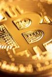 Plan rapproché d'or de Bitcoin Image libre de droits