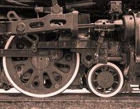 Plan rapproché d'engine de train pilotée par vapeur photo stock