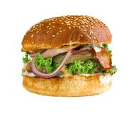 Plan rapproché d'hamburger sur un fond blanc photographie stock libre de droits