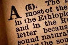 Plan rapproché d'A, la 1ère lettre de l'alphabet latin Images libres de droits