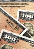 Plan rapproché d'obligations d'épargne d'épargne sur formules des USA Image libre de droits