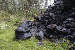 Plan rapproché d'un écoulement de lave du volcan Kilauea sur Hawaï Image libre de droits