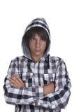 Plan rapproché d'un adolescent utilisant un hoodie, underlit Images libres de droits