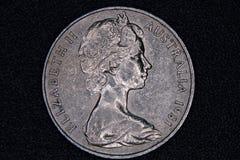 Plan rapproché d'un Australien pièce de monnaie de 20 cents Images stock
