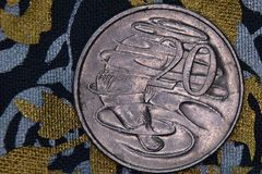 Plan rapproché d'un Australien pièce de monnaie de 20 cents Image stock
