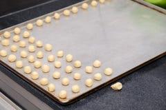 Plan rapproché d'un chef de pâtisserie à la cuisine professionnelle du restaurant transformant les biscuits sablés, coupant la pâ photo stock