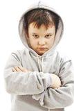 Plan rapproché d'un garçon utilisant un hoodie, underlit Photo libre de droits