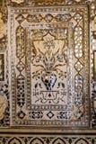 Plan rapproché d'un mur richement décoré dans le fort ambre à Jaipur Image stock