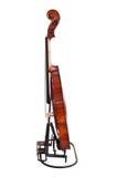 Plan rapproché d'un violon d'isolement au-dessus du fond blanc Image libre de droits