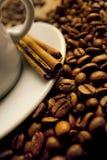 Plan rapproché d'une cuvette merveilleuse de café chaud Image stock