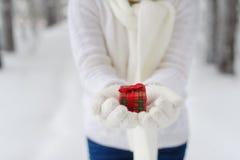 Plan rapproché d'une femme tenant un cadeau Images stock
