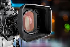 Plan rapproché d'une lentille de caméra de télévision Image libre de droits
