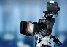 Plan rapproché d'une lentille de caméra de télévision Photographie stock