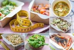 Plan rapproché d'une partie du plat sain de nutrition La livraison quotidienne fraîche de repas légume dans des boîtes de métier Images stock