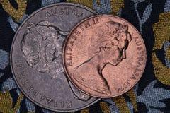 Plan rapproché d'une pièce de monnaie australienne de 2 et 20 cents Photo stock