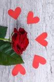 Plan rapproché d'une rose simple de rouge sur un fond gris avec les coeurs de papier décomposés, le concept des vacances Image libre de droits