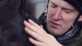 Plan rapproché, dans une écurie, courses d'un homme un museau d'un pur sang, cheval noir banque de vidéos