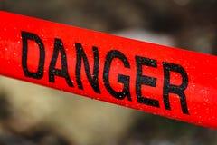Plan rapproché de bande rouge de danger Image stock