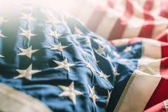 Plan rapproché de bannière étoilée de drapeau américain Image libre de droits