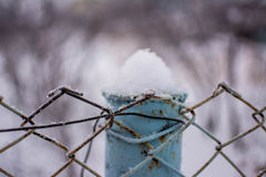 Plan rapproché de barrière en métal couvert de neige congelée Photos libres de droits