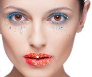 Plan rapproché de bel oeil de femme avec le maquillage Photo libre de droits