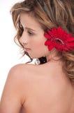 Plan rapproché de belle fille avec la fleur rouge d'aster Photographie stock