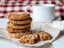 Plan rapproché de biscuits de farine d'avoine Image stock