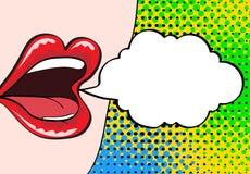Plan rapproché de bouche femelle ouverte sexy avec le rouge à lèvres rose criant a illustration de vecteur