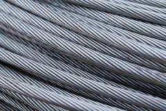Plan rapproché de câble de corde de fil d'acier photo stock