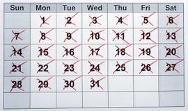 plan rapproché de calendrier Photographie stock