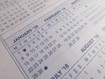 plan rapproché de 2018 calendriers Photos libres de droits